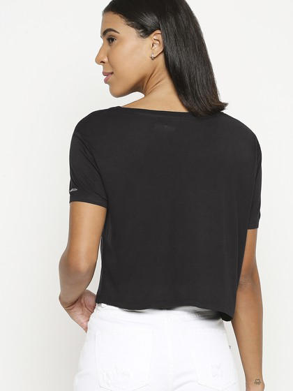 Product Image for Black Round Neck Crop T-Shirt