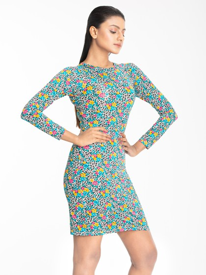Product Image for LOVEGEN LONG SLV FITTED DRESS 12WFLWRPRTMLTI