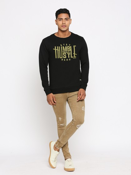 Product Image for Long Sleeve Black Crew Neck Knitted Sweatshirt